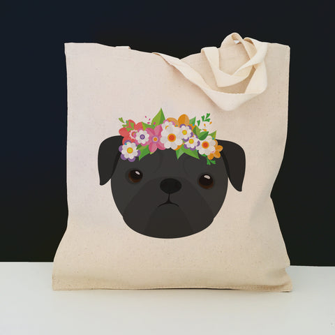Pug with Flowers Tote Bag