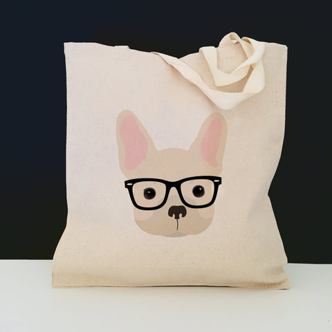 French Bulldog with Glasses Tote Bag
