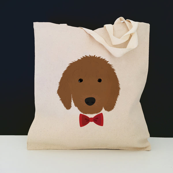 Golden Doodle with Bow Tie Tote Bag