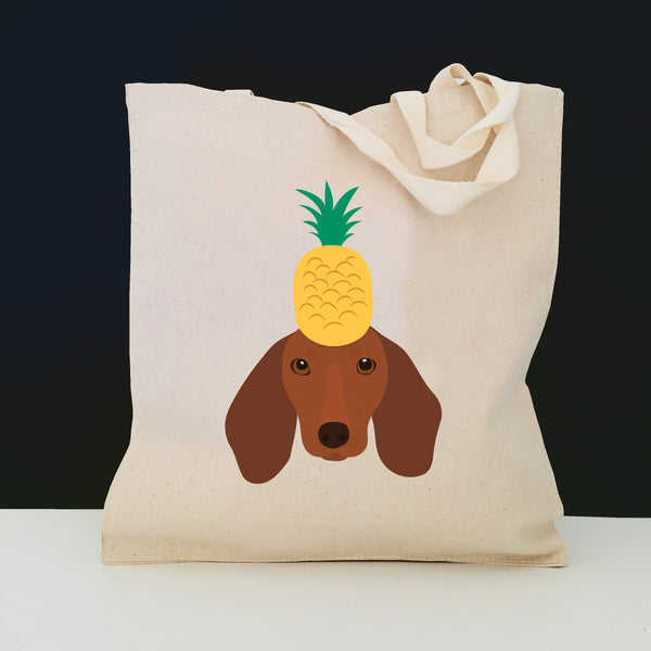 Dachshund with Pineapple Tote Bag