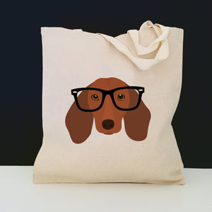 Dachshund with Glasses Tote Bag