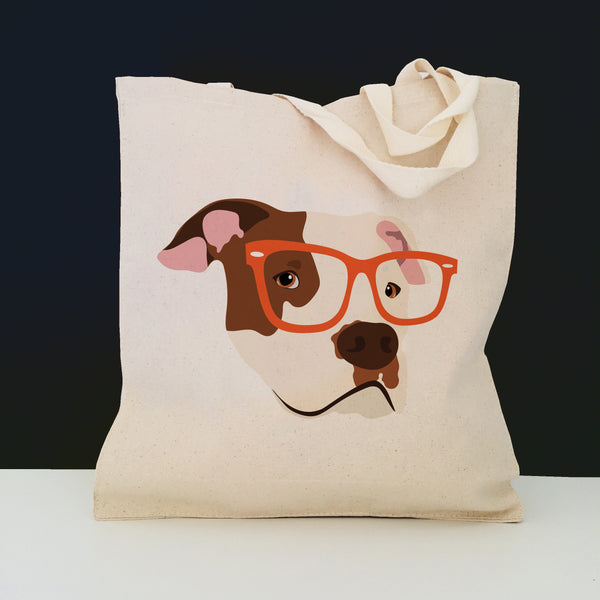 Pit Bull with Glasses Tote Bag