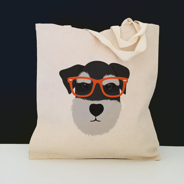 Schnauzer with Glasses Tote Bag