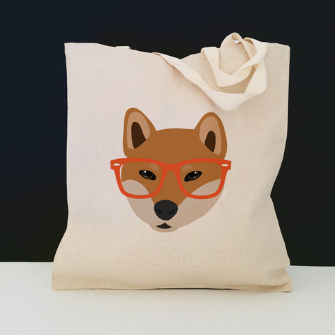 Shiba Inu with Glasses Tote Bag