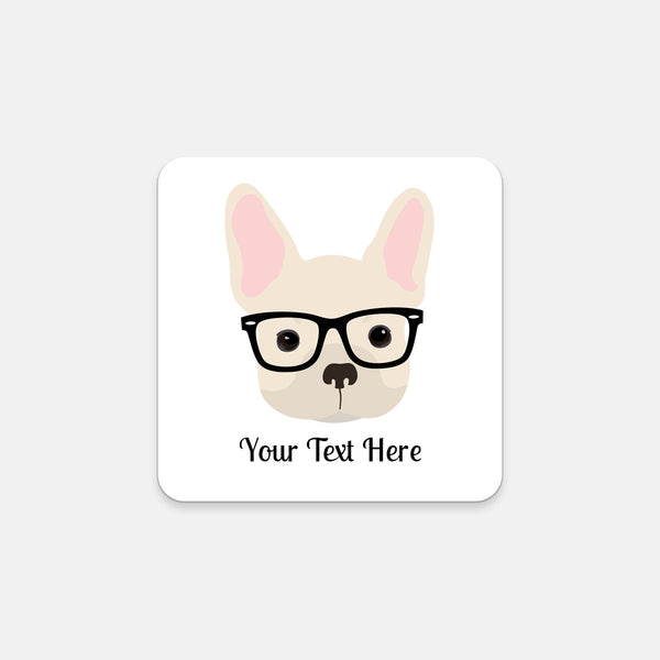 French Bulldog with Glasses Coasters (Set of 2)
