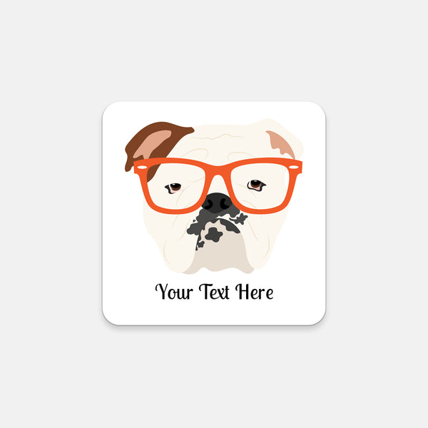 English Bulldog with Glasses Coasters (Set of 2)