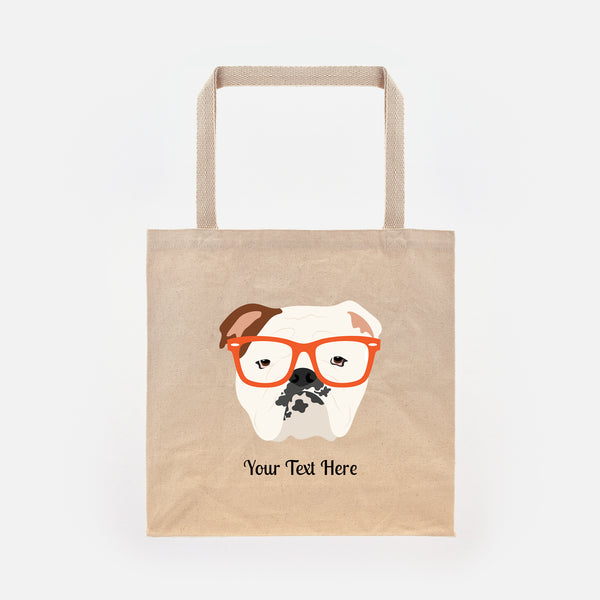 English Bulldog with Glasses Tote Bag