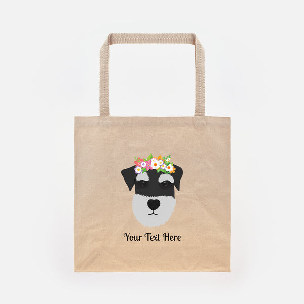 Schnauzer with Flowers Tote Bag