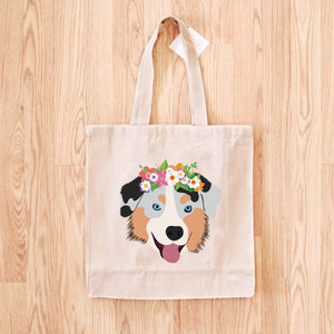 Australian Shepherd with Flower Crown Tote Bag