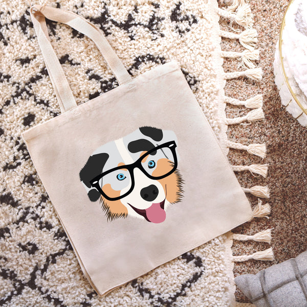 Australian Shepherd with Glasses Tote Bag