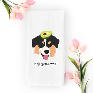 Australian Shepherd with Avocado Tea Towel