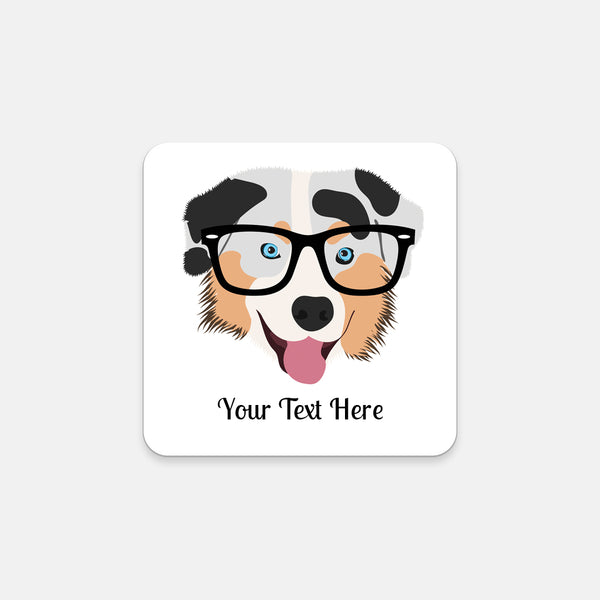 Australian Shepherd with Glasses Coasters (Set of 2)