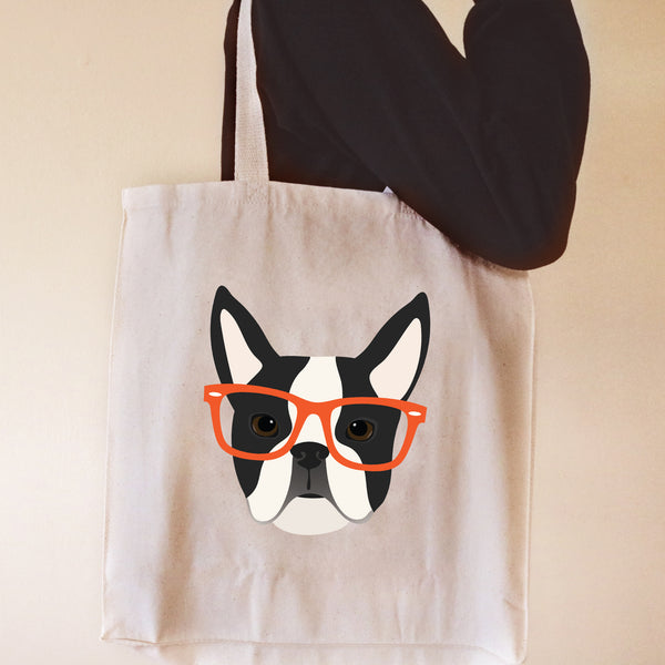 Boston Terrier with Glasses Tote Bag