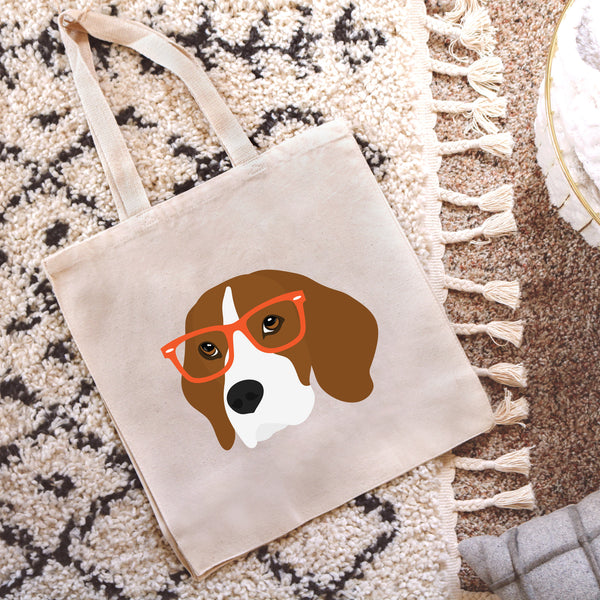 Beagle with Glasses Tote Bag