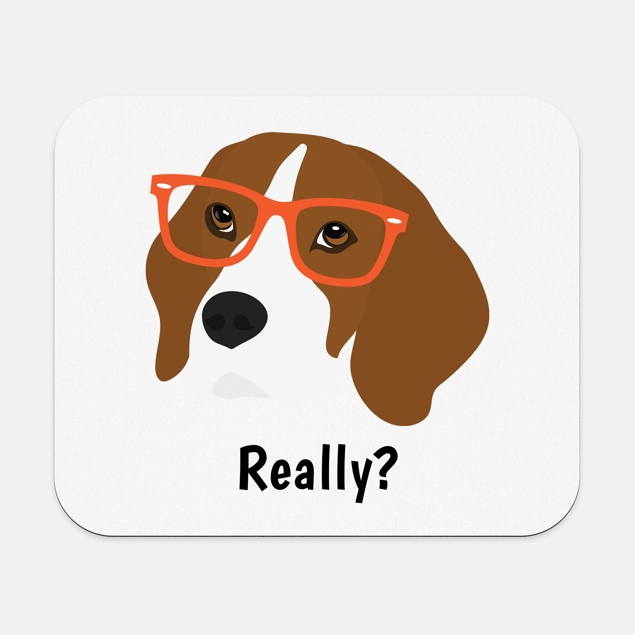 Beagle with Glasses Mouse Pad