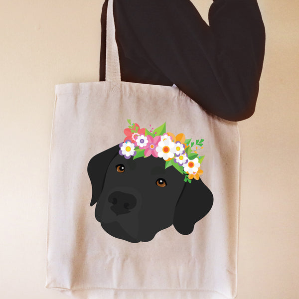 Labrador Retriever with Flowers Tote Bag
