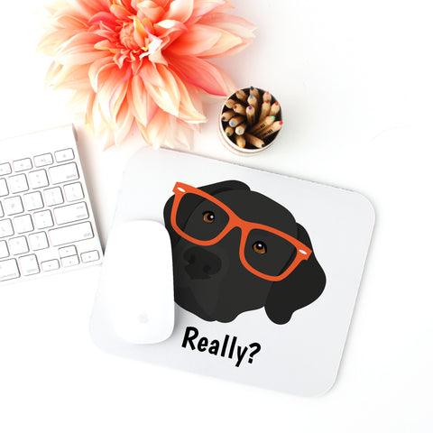 Black Labrador with Glasses Mouse Pad