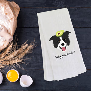 Border Collie with Avocado Tea Towel