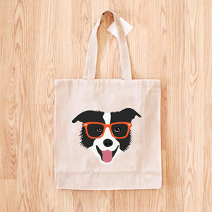 Border Collie with Glasses Tote Bag