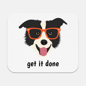 Border Collie with Glasses Mouse Pad