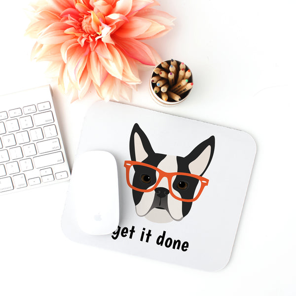 Boston Terrier with Glasses Mouse Pad