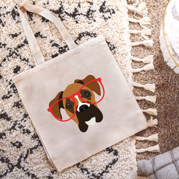 Boxer with Glasses Tote Bag