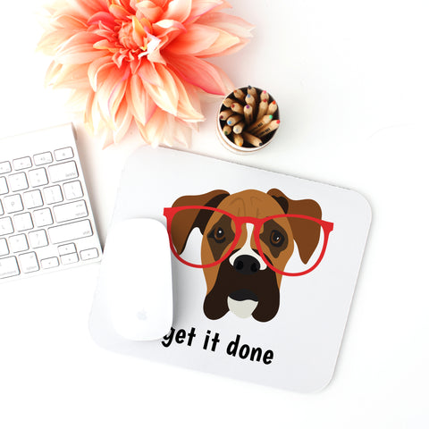 Boxer with Glasses Mouse Pad