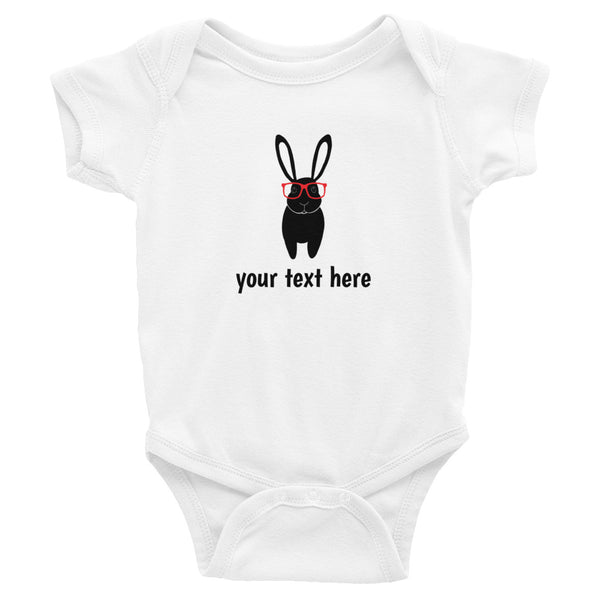 Personalized Bunny with Glasses Baby Bodysuit