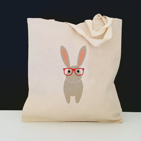 Bunny with Glasses Tote Bag