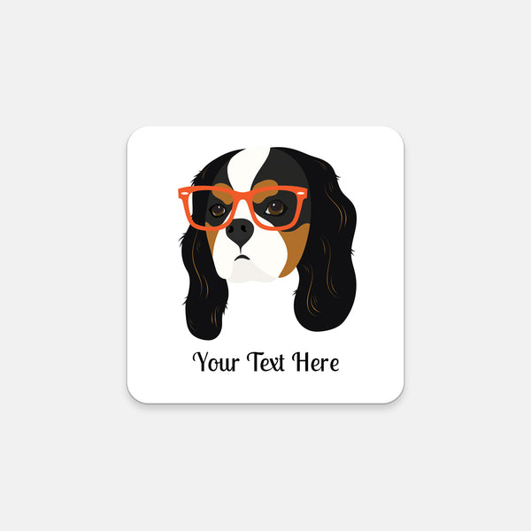 Cavalier King Charles Spaniel with Glasses Coasters (Set of 2)