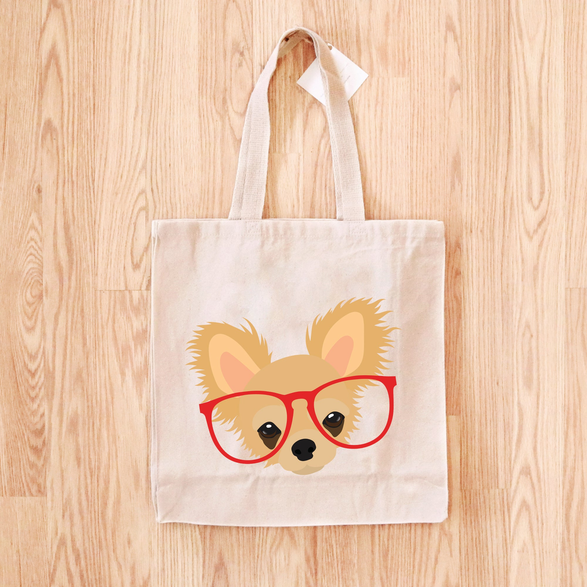 Chihuahua with Glasses Tote Bag