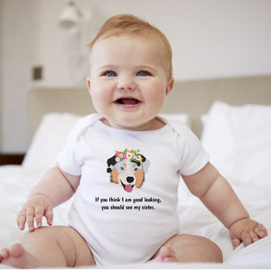 Personalized Australian Sheperd with Flowers Baby Bodysuit