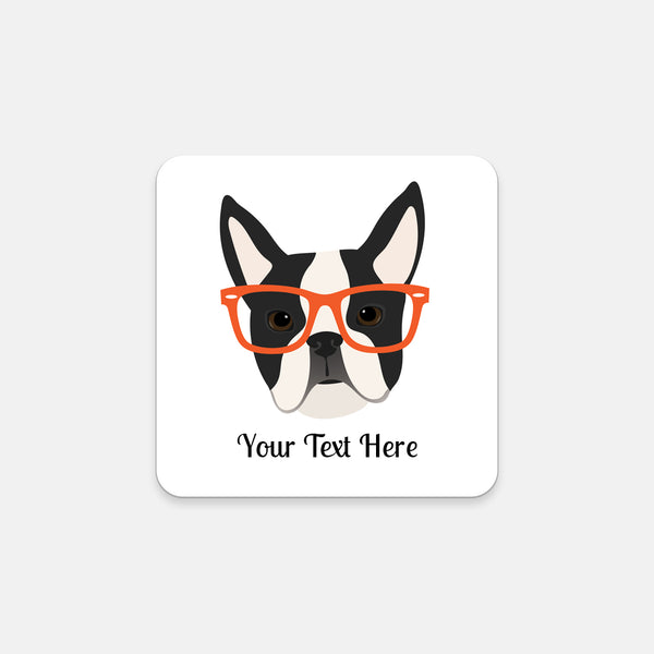 Boston Terrier with Glasses Coasters (Set of 2)