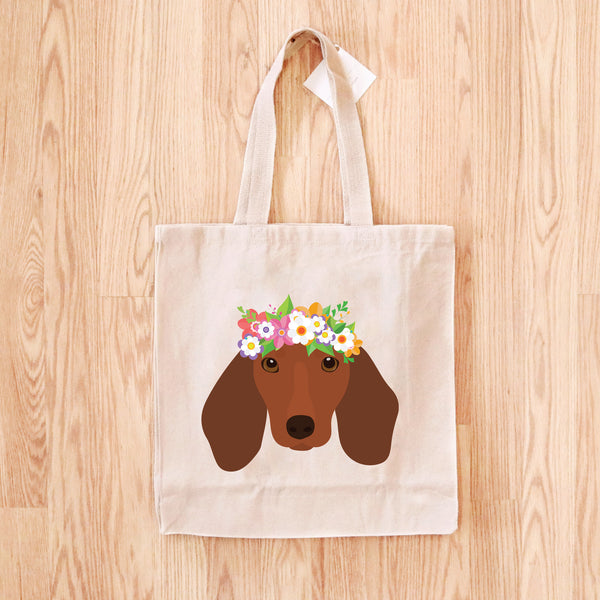 Dachshund with Flowers Tote Bag