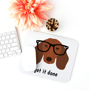 Daschund with Black Glasses Mouse Pad
