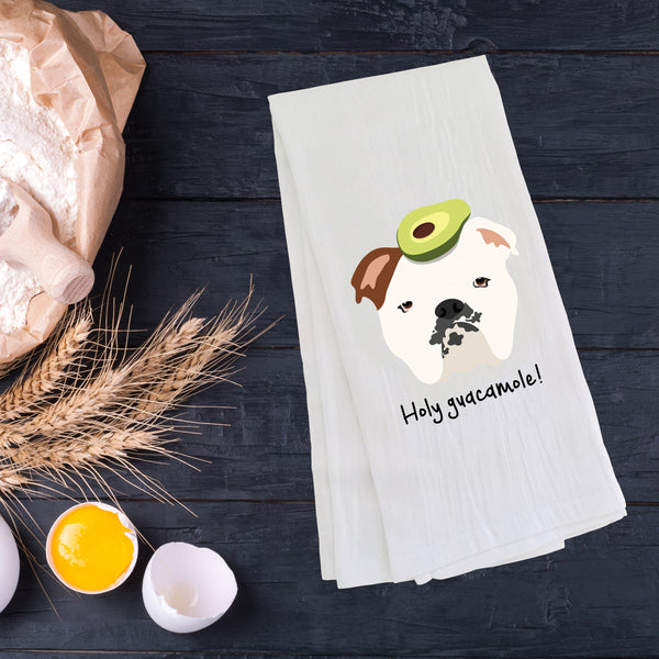 English Bulldog with Avocado Tea Towel