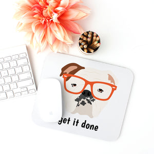 English Bulldog with Glasses Mouse Pad