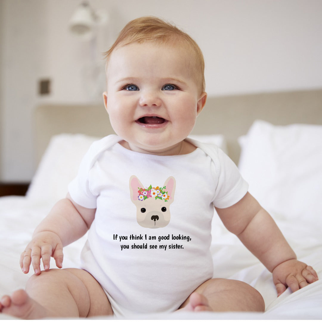 Personalized French Bulldog with Flowers Baby Bodysuit