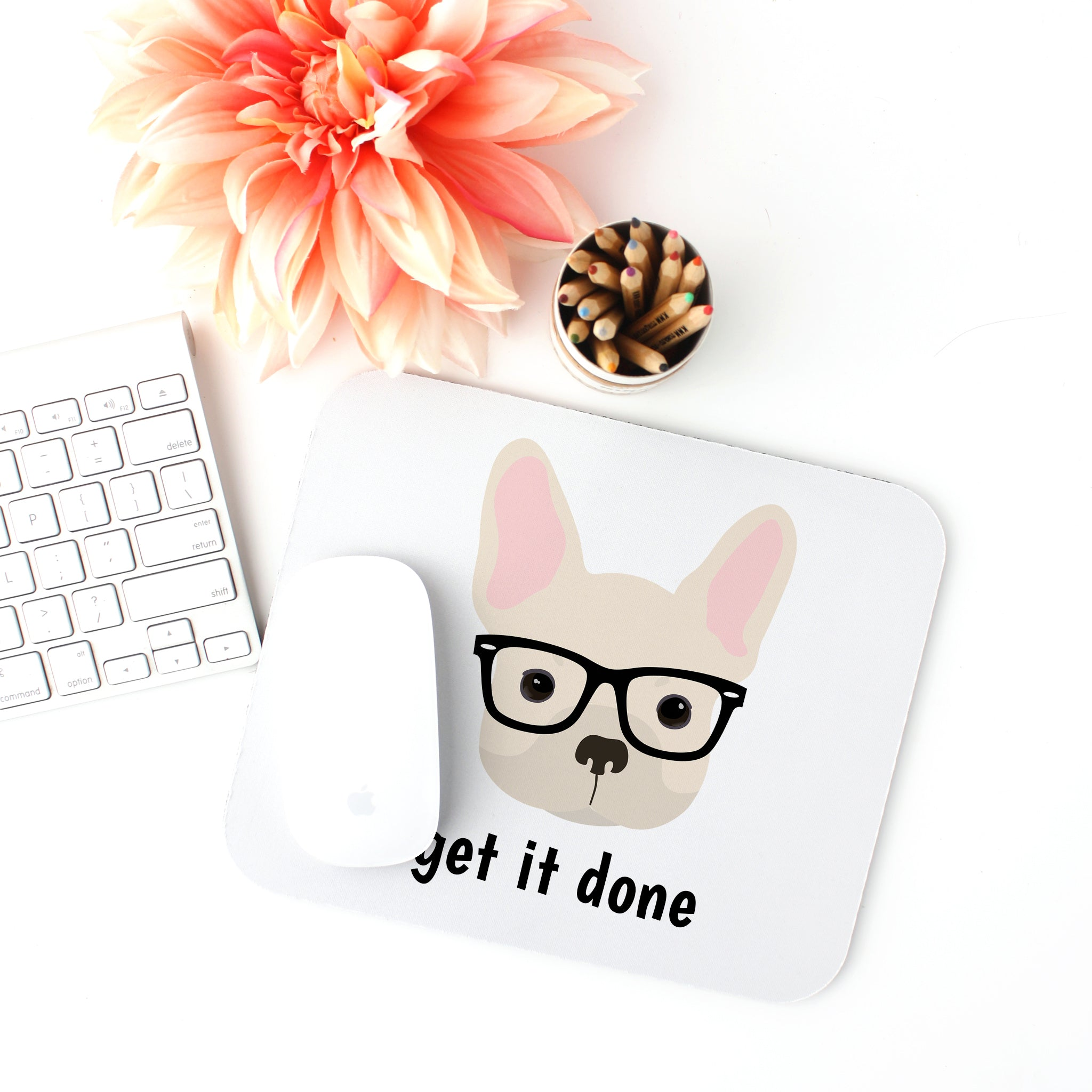 French Bulldog with Glasses Mouse Pad