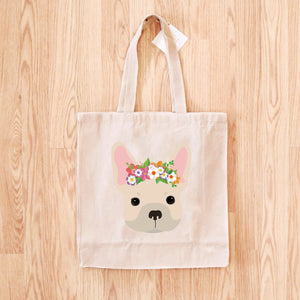 French Bulldog with Flowers Tote Bag
