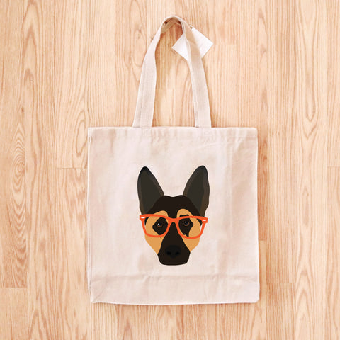 German Shepherd with Glasses Tote Bag