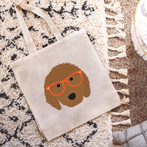 Golden Doodle with Glasses Tote Bag