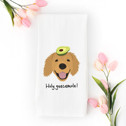 Golden Retriever with Avocado Tea Towel