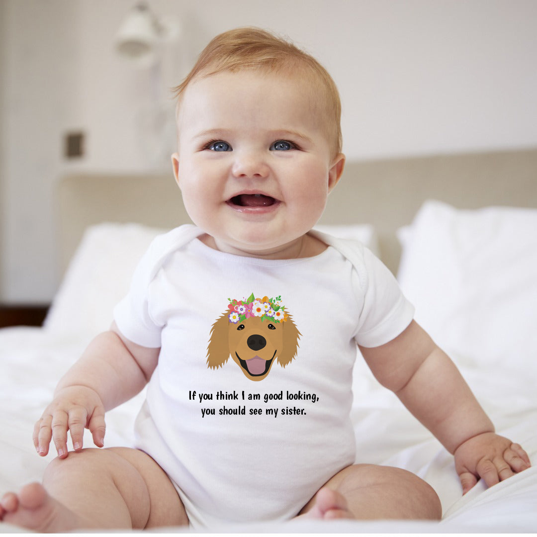 Personalized Golden Retriever with Flowers Baby Bodysuit