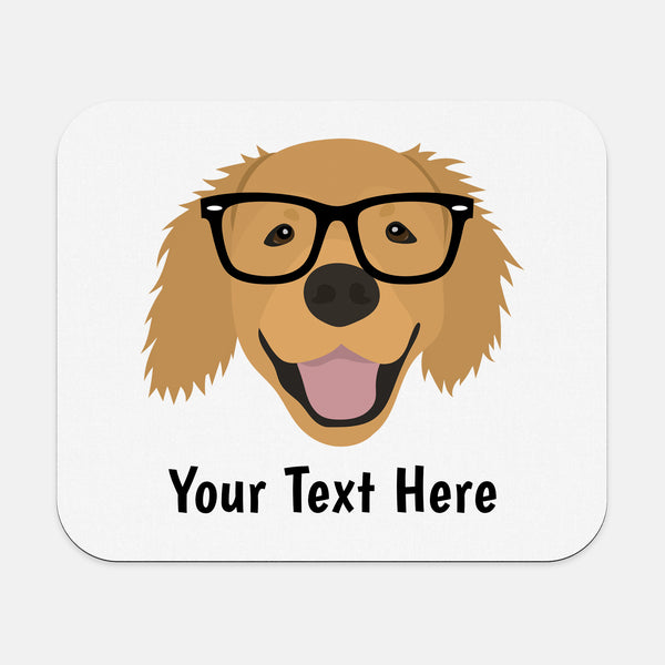 Golden Retriever with Glasses Mouse Pad