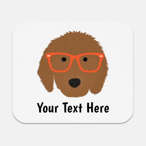 Goldendoodle with Glasses Mouse Pad