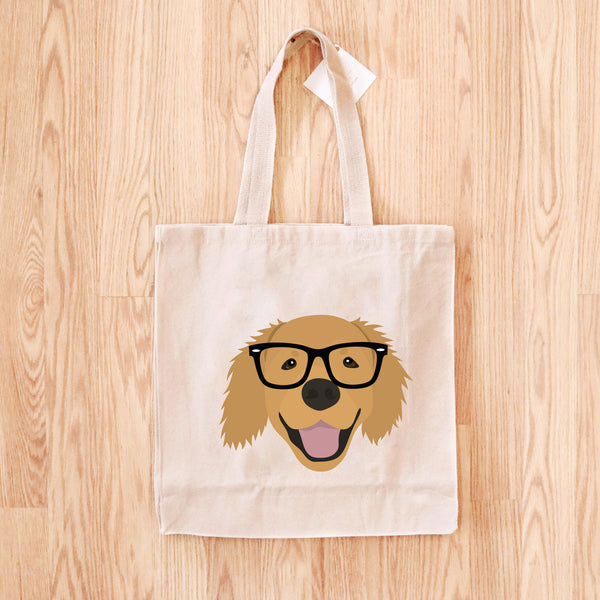 Golden Retriever with Glasses Tote Bag
