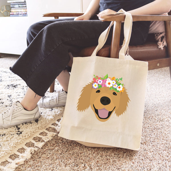 Golden Retriever with Flowers Tote Bag