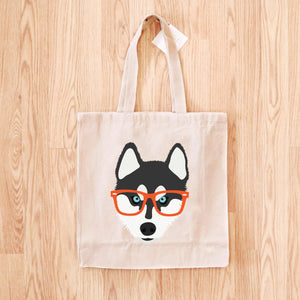 Husky with Glasses Tote Bag