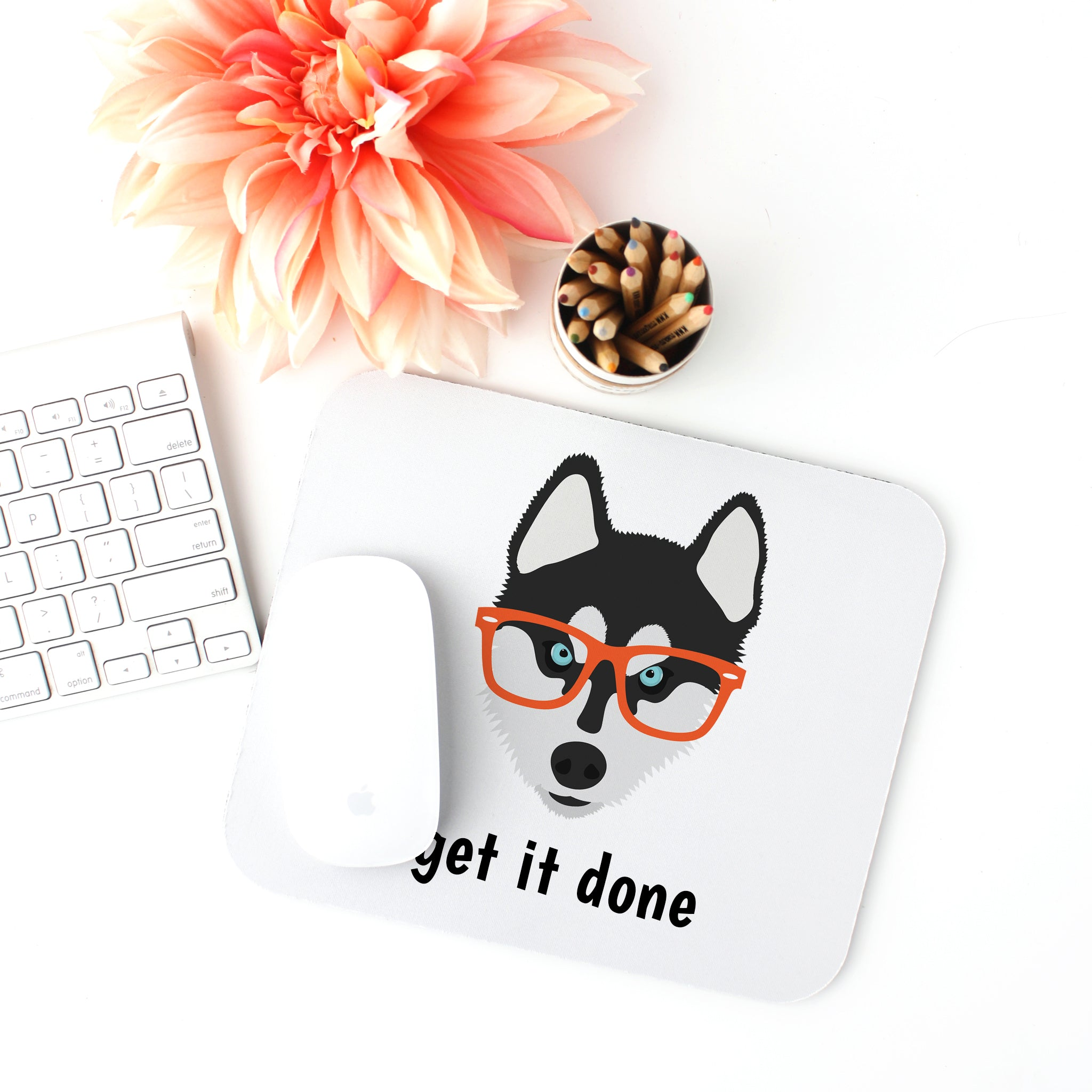 Husky with Glasses Mouse Pad